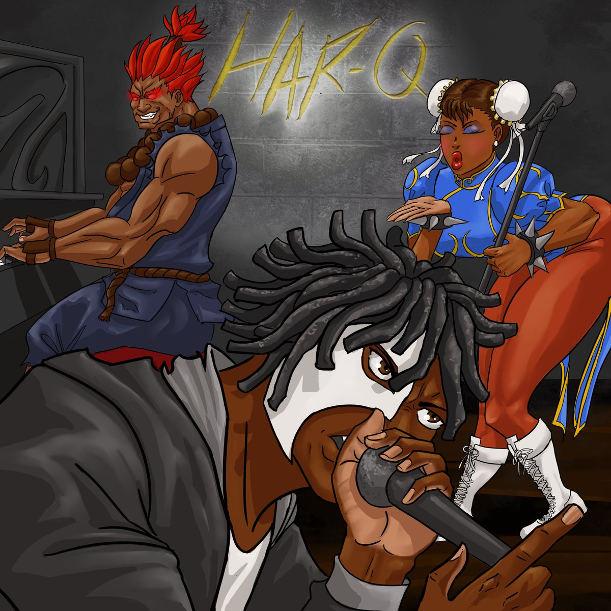 Really happy with the way this cover for Har-Q's new album turned out! I always enjoy collaborating with other creatives, I always learn so much!  #albumart #albumcover #streetfighter #chunli #akuma