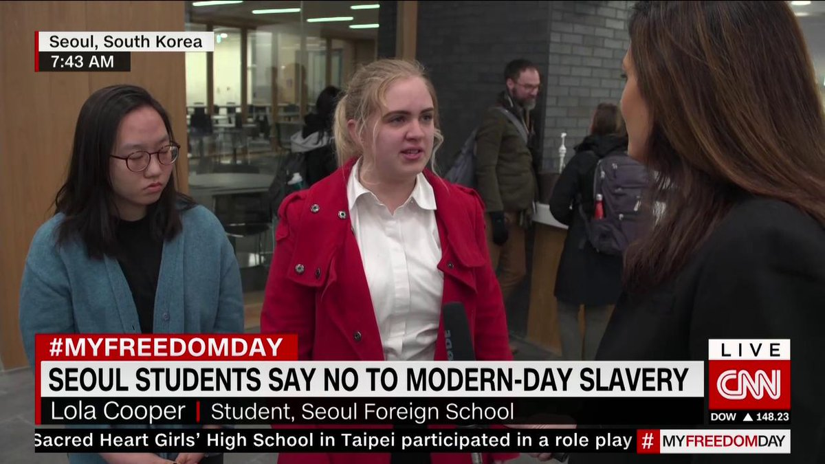 CNN's @PHancocksCNN ask students at Seoul Foreign School about what they are doing to support CNN's #MyFreedomDay. #sfs1912 #cnnfreedomproject