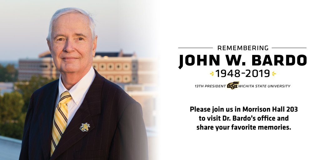 WSU would like to extend an invitation to anyone wanting to share their memories of remembrance, to come by the President's Office, Morrison Hall, Room 203 from 8 a.m.-5 p.m. Thursday through Friday. All cards and notes will be given to Dr. Bardo's family.  💛🌾#RememberingBardo