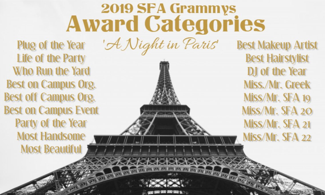 """Here are the 2019 SFA Grammys Award Categories &amp; Red Carpet Awards  #SFAGrammys19   Nominations for Award Categories will open from April 1st-April 7th (YOU MUST HAVE AN EMAIL TO NOMINATE)   Red Carpet Awards will be selected show day (April 25th) via Twitter """"People's Choice"""" <br>http://pic.twitter.com/NjGqH3Tnqc"""