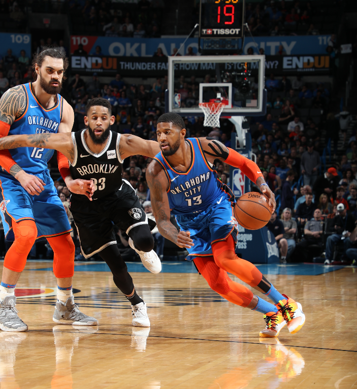 Paul George with 10 in the 3rd (22 total) and the @okcthunder are on top!  #ThunderUp 63 #WeGoHard 61  ��: @ESPNNBA https://t.co/keA7BG7jT3