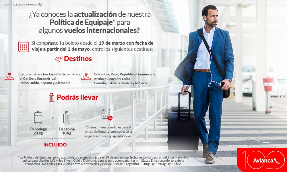 Nueva política de equipaje de Avianca para vuelos a Europa, Estados Unidos, Canadá y México.