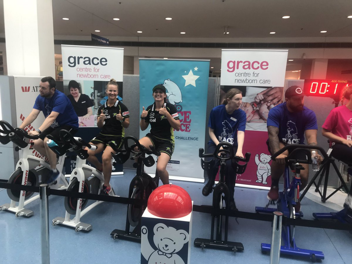 Saskia Horley and Hannah Trethewy took part in the Race For Grace 🚴‍♀️ in support of @westmeadkids 💚 More: http://bit.ly/2VXsUSF  #ThunderNation