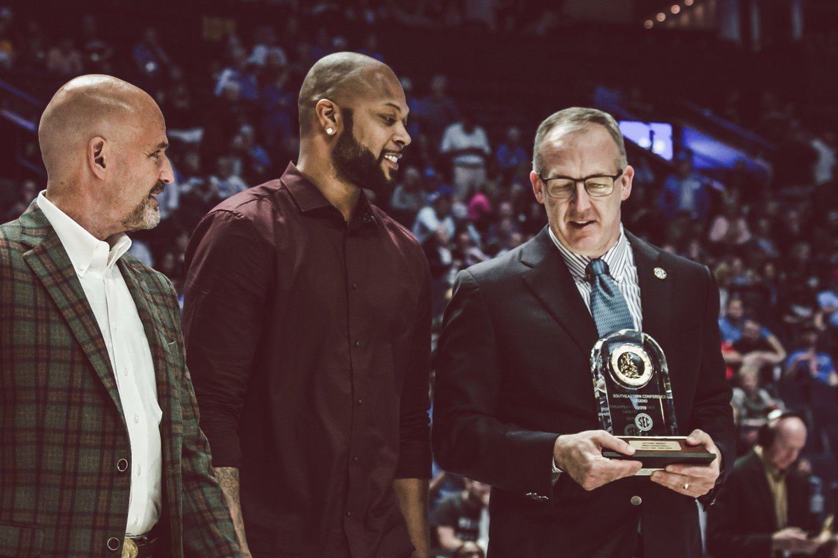 Honoring a legend.  Antoine Wright was recognized at the half as part of the 2019 @SEC Legends Class.   #SECTourney #GigEm