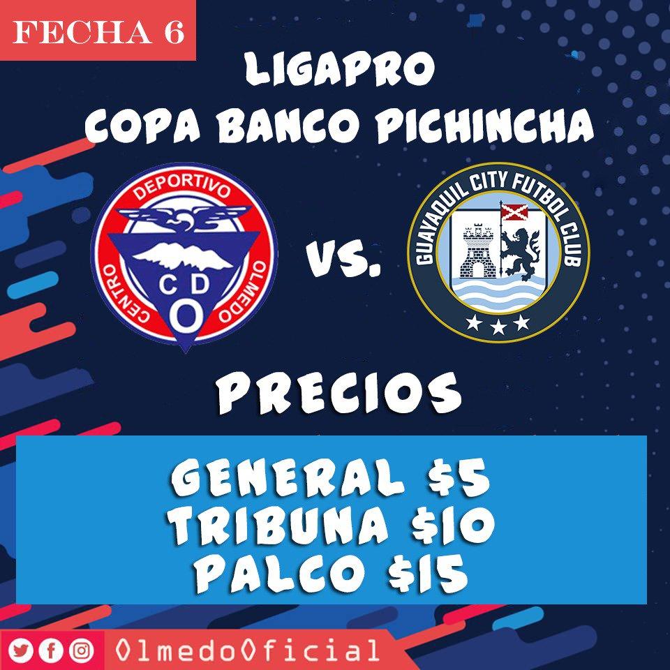 Precios de las entradas para partido del Olmedo en casa frente a Guayaquil City