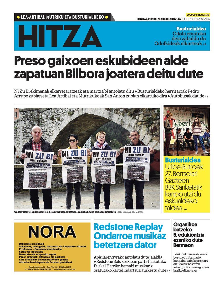 GAURKO AZALA [Martxoak 14]: @BermeokoUdala  @BBertsozale @bbk @redstone_soluk @sare_herritarra ; https://busturialdea.hitza.eus/