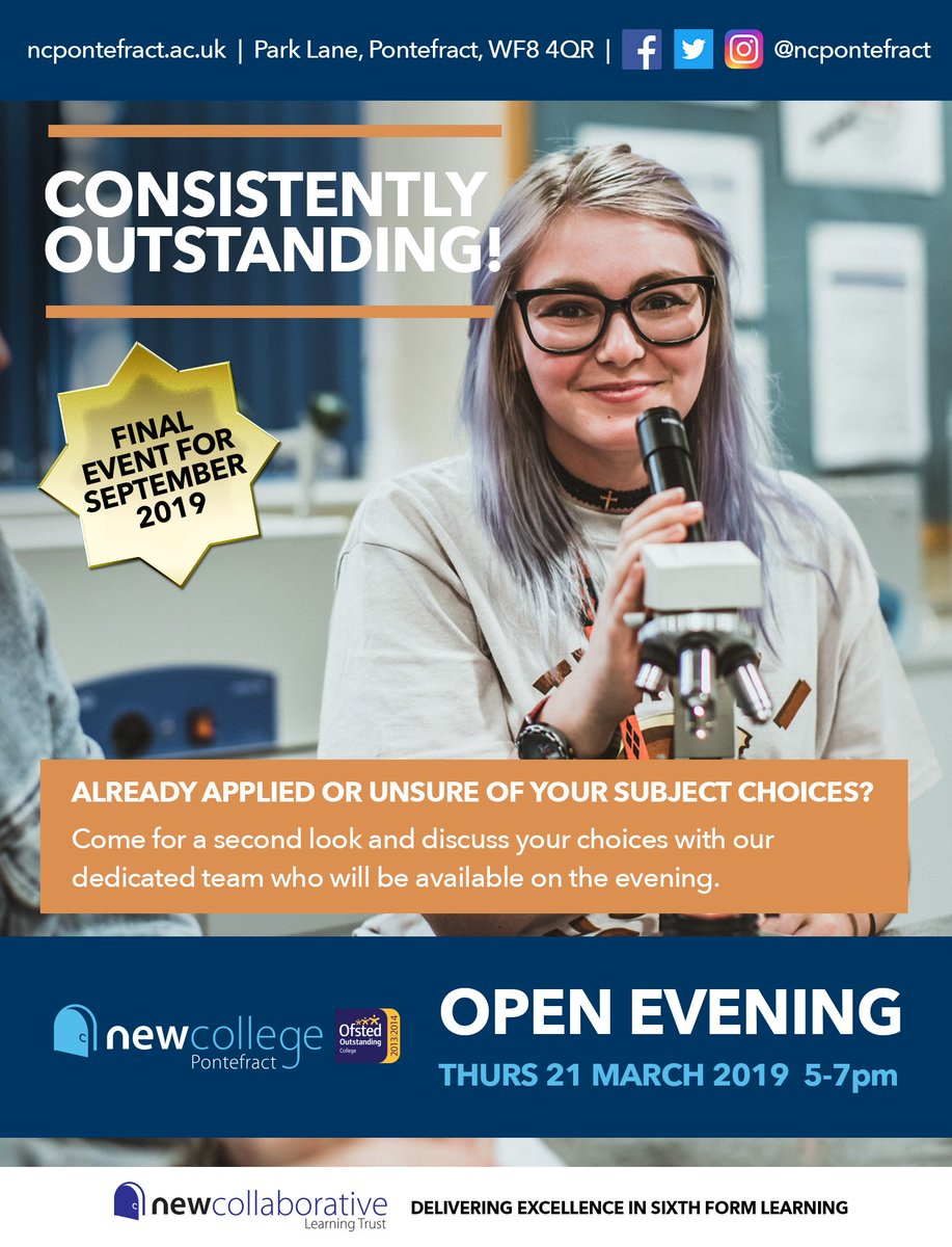 Pssst! Did someone say...open evening?! That's right, next Thursday it's our final OPEN EVENING for students starting in Sep 2019! Unsure what courses to do, want a look around our campus or just want some more information? Then be sure to visit us between 5-7pm!