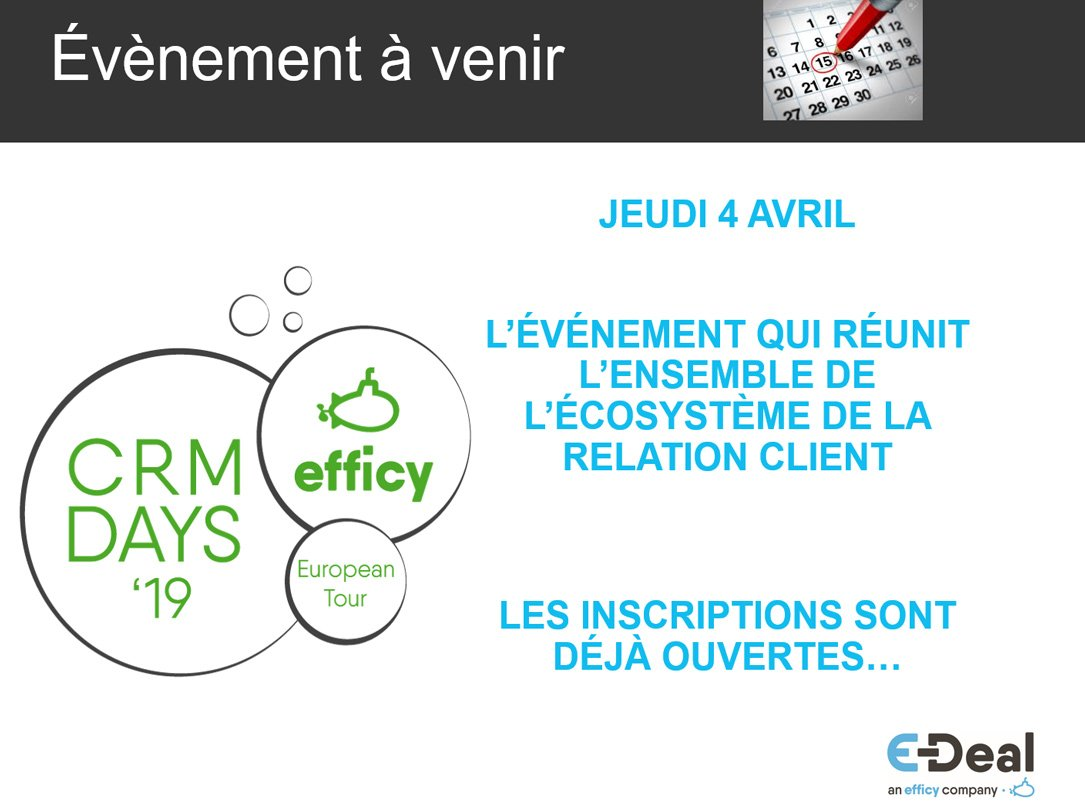test Twitter Media - [WEBINAR] Et, nous sommes aussi en train de définir nos CRM Days à #Paris. Réservez le 4 avril dans vos agendas ! Inscrivez-vous sur https://t.co/wEnFEzmNxF  Nous vous attendons nombreux ! À bientôt ! 👋 #LiveTweet #EDeal #EfficyCRMdays #EuropeanCRMChampion https://t.co/ru1bmxjMiE