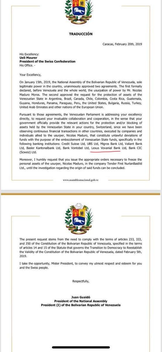Это настоящий документ, подписанный Гуайдо по нашей просьбе, где он просит заморозить счета Мадуро в Лексус Вованиаль банке