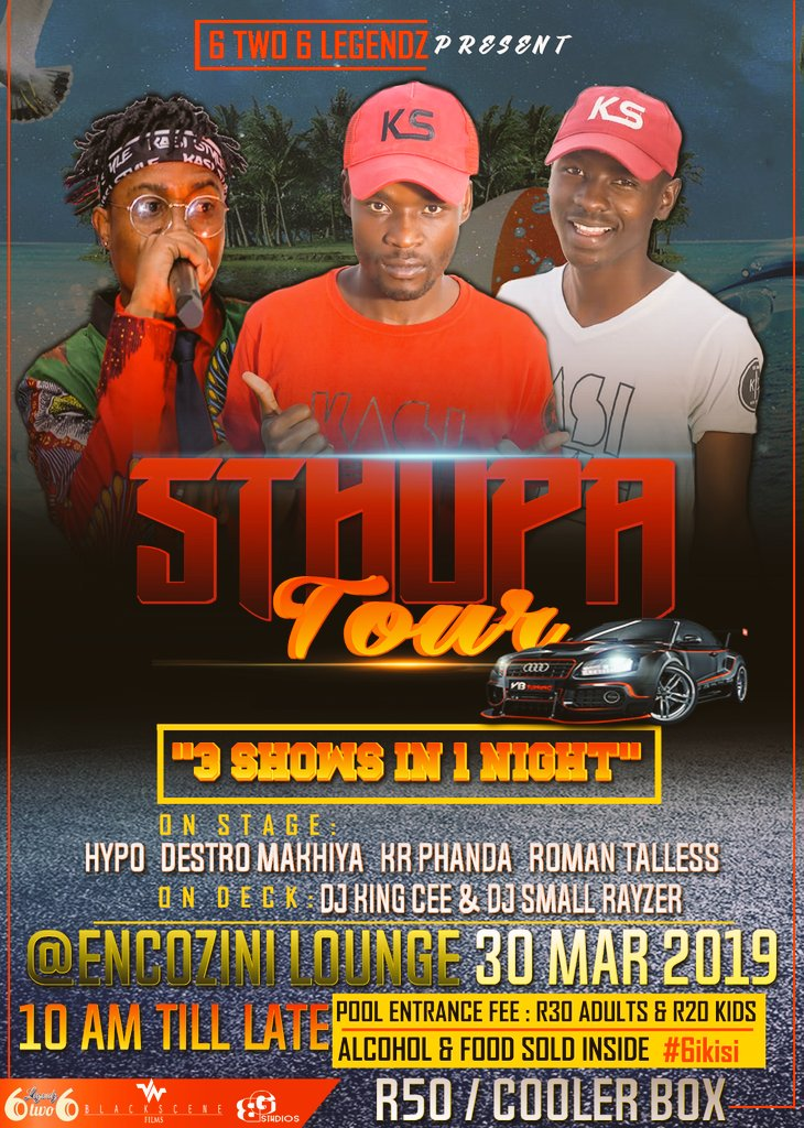 "#SthupaTour💃🚍📸🎥🎤 ""3 Shows in One Night"" First Stop is @Encozin Lounge from 10am! Be there as early as you Can🤘❤ #6ikisi"