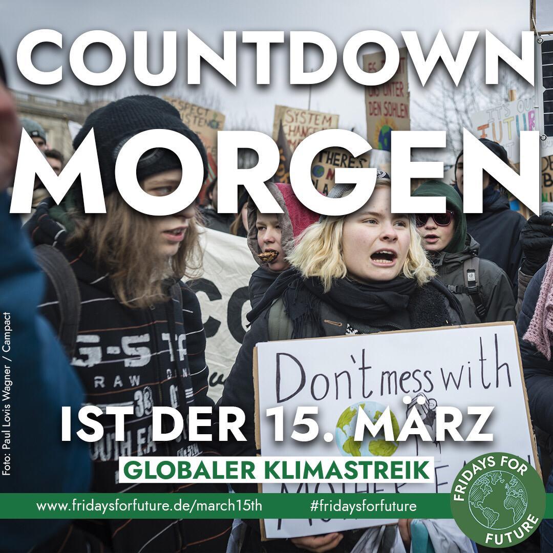 In etwas mehr als 24 Stunden beginnt der erste #FridaysForFuture #Klimastreik zum globalen Streiktag in Deutschland.   Morgen wird in über 1650 Städten aus über 100 Ländern gestreikt.