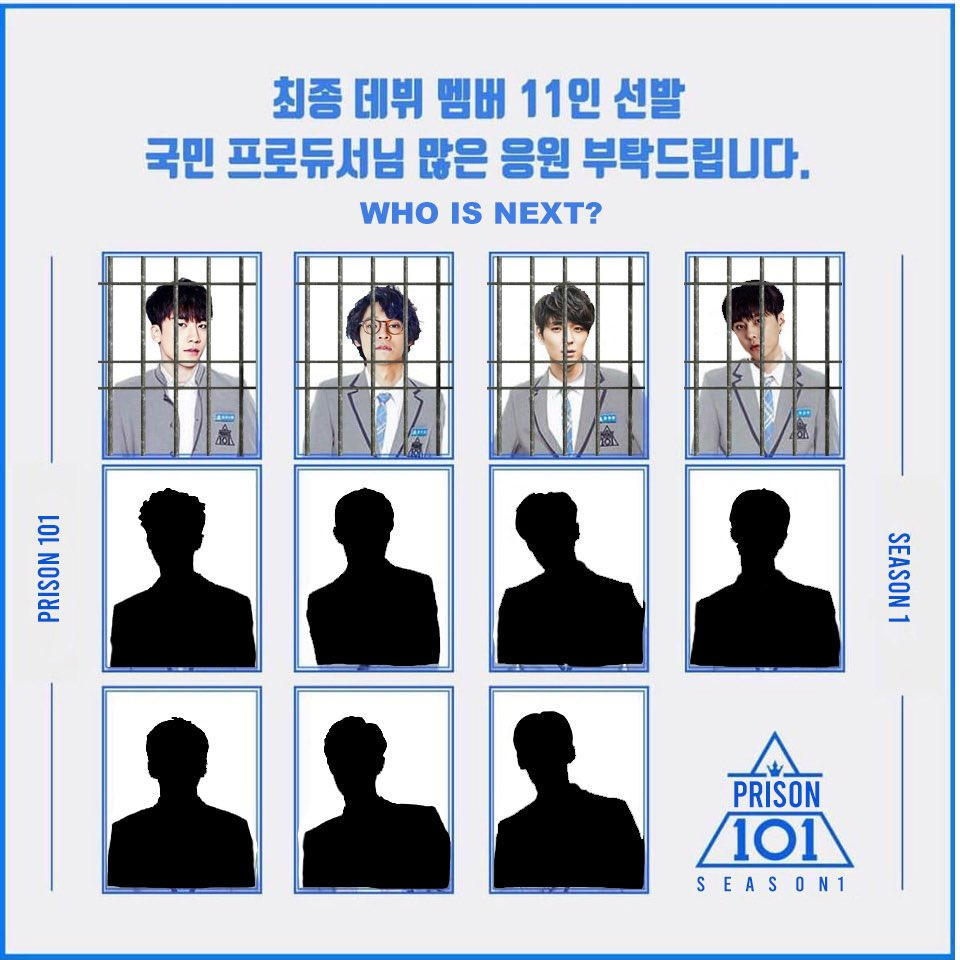 "PRISON 101 Season 1 (Coming Soon)  Sentenced group will be called  C.E.L.L (Cocky Evil Limpdick Liars) with the title track ""Electric Chair""    Current lineup:  Seungri, Jung Joon Young, Jonghun, Junhyung  Who will be revealed next? Stay tune."