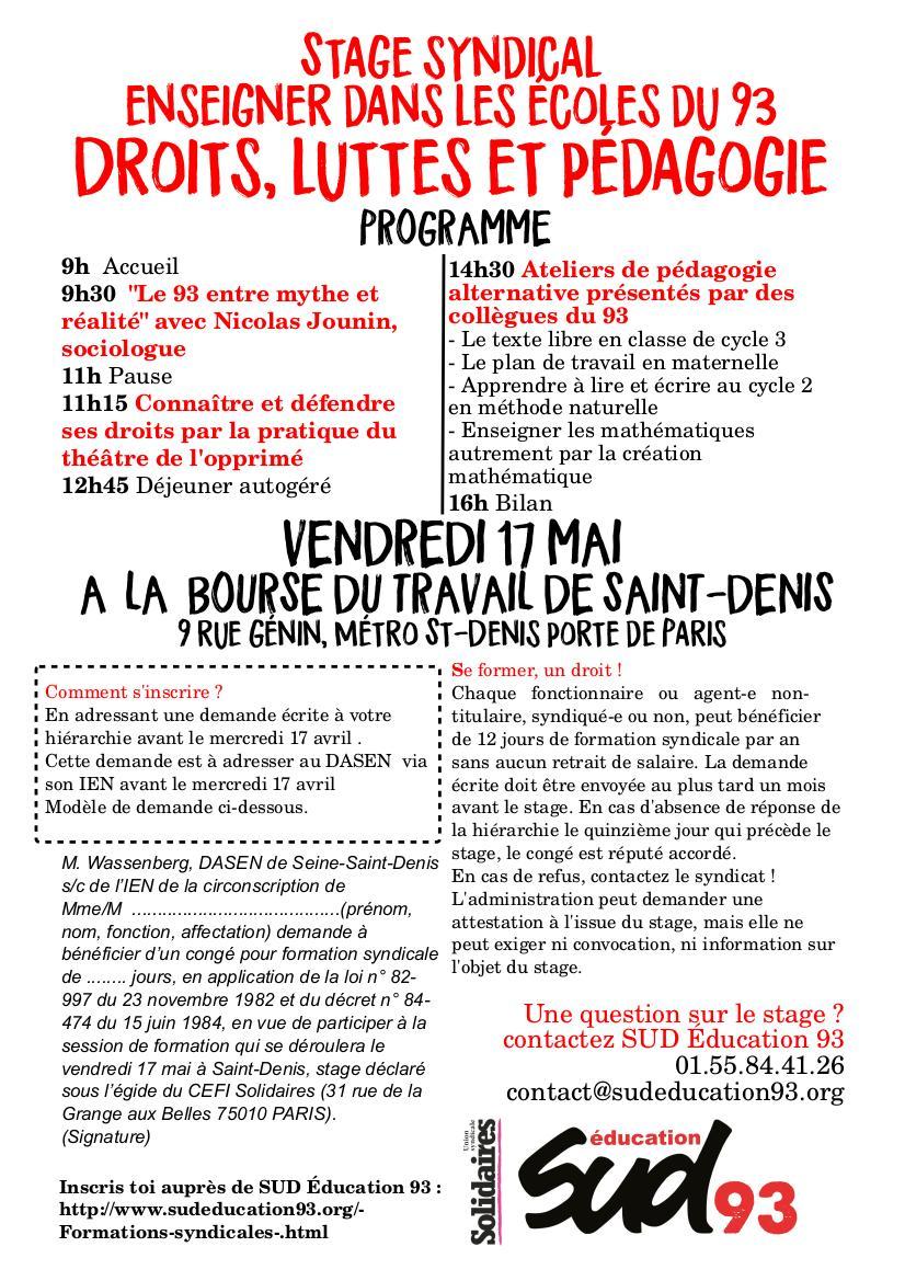 1e8a371b844 ... du travail de Saint-Denis Demande à faire à sa hiérarchie avant le 17  avril  https   www.sudeducation93.org Stage-de-formation-syndicale-1er-degre.html  … ...