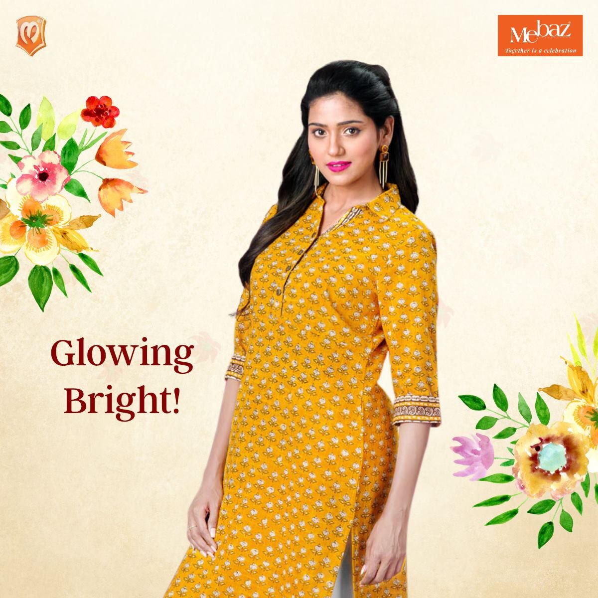 3b1cf6f92ed This printed yellow kurta is your go to attire for that perfect glow on a  sunny day! #Mebaz #Togetherisacelebration #Style #Fashion #Ethnicwear  #Indianwear ...
