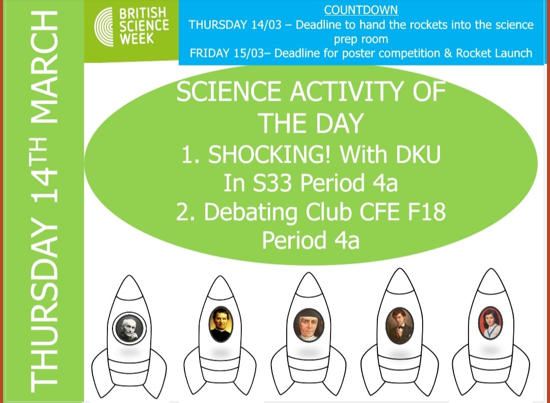 #ScienceWeek2019 Deadline for the rockets is today!