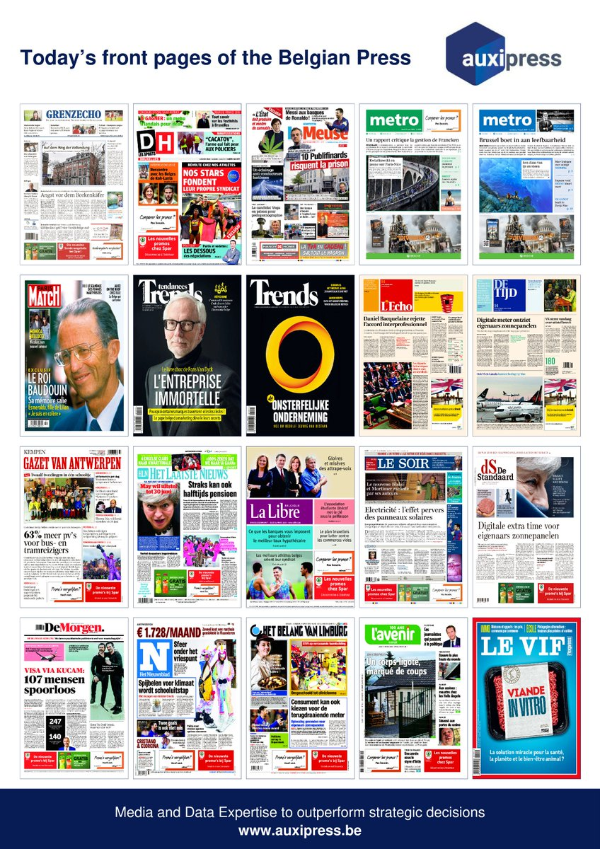 #Newsoftheday 📰💡🗞️- Discover today's front pages of the #BelgianPress ! #TourdeFrance2019 #KohLanta2019  #LyonBarça #LionelMessi #ChampionsLeague #Publifin #Cannabis #TheoFrancken #YouthForClimate #TheDivision2 #Brexit #MonicaBellucci #FonsVanDyck  #MobileX #Boeing737Max