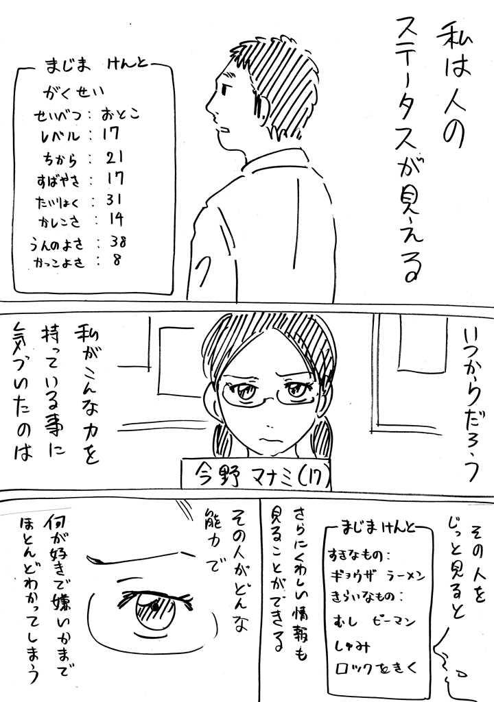ステータスが見える能力を持った少女の漫画 その1