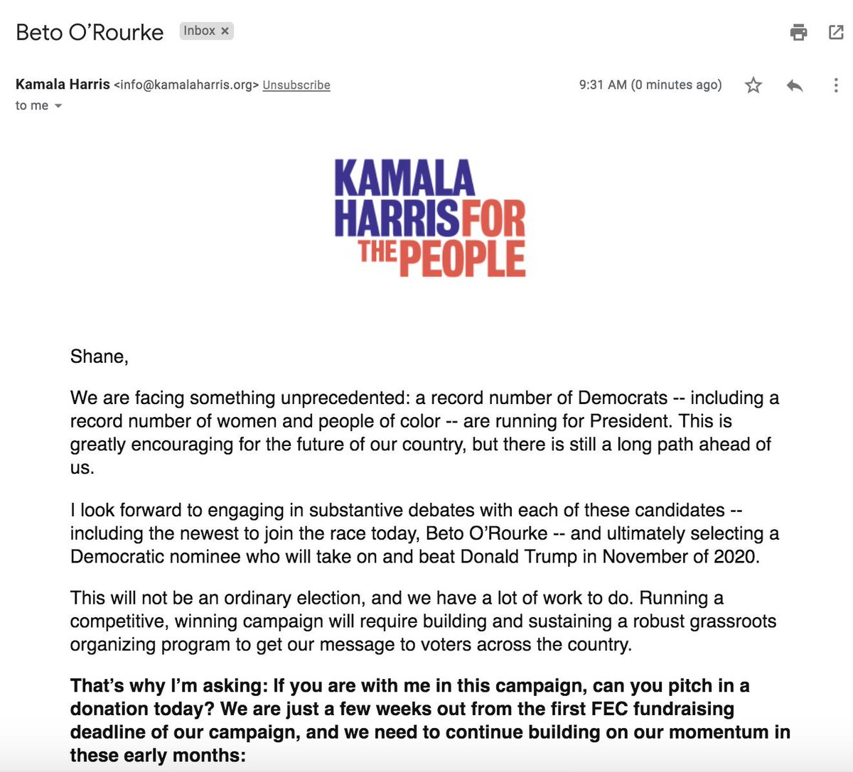 Shane Goldmacher On Twitter On The Day He Enters The Race Kamala Harris Puts Beto O Rourke In The Subject Line Of A Fundraising Email