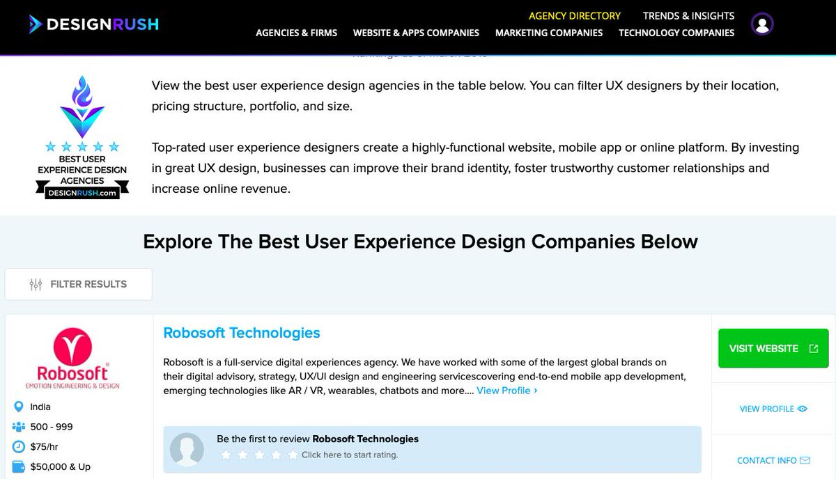 Robosoft On Twitter Thank You Designrushmag For Featuring Is In The Top User Experience Design Ux Agencies Of 2019 Userexperience Designthinking Https T Co 5ncamchniw