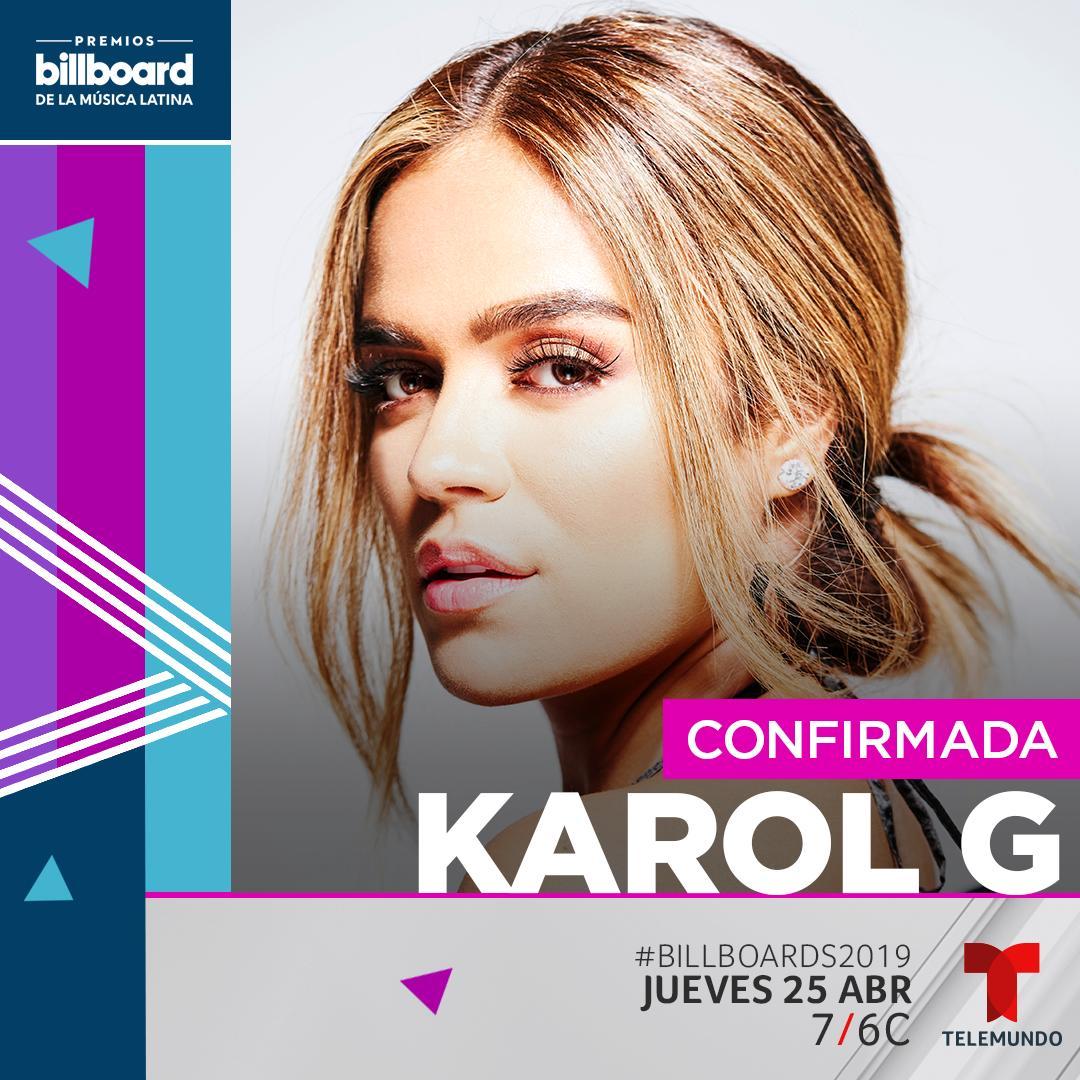 CONFIRMADA #KarolG The show gets better and better! #Billboards2019 @KarolGmusic<br>http://pic.twitter.com/mYhbEFwN0u