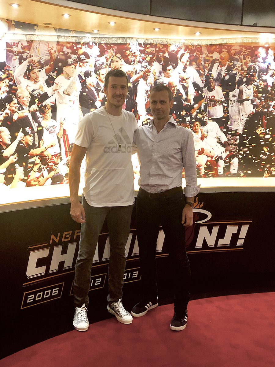Great team win last night, and happy to have my friend  Aleksander Čeferin there to see it. @UEFAcom @NBA 🐲🏀⚽️