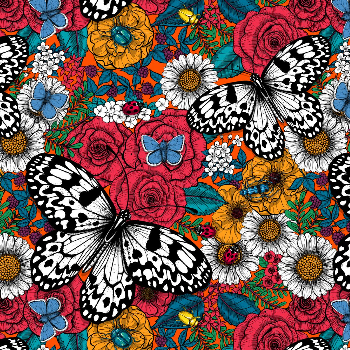 """""""A colorful garden"""" is my entry for this week Spoonflower's challenge """"Maximalism"""". I'll be very grateful to any of you who votes for me, link:  http://bit.ly/2Civtr8 #paperkite #butterfly #butterflydrawing #beetle #roses #rosedrawing #flower #botanical #botanicalpatternpic.twitter.com/YOndtLWEJJ"""