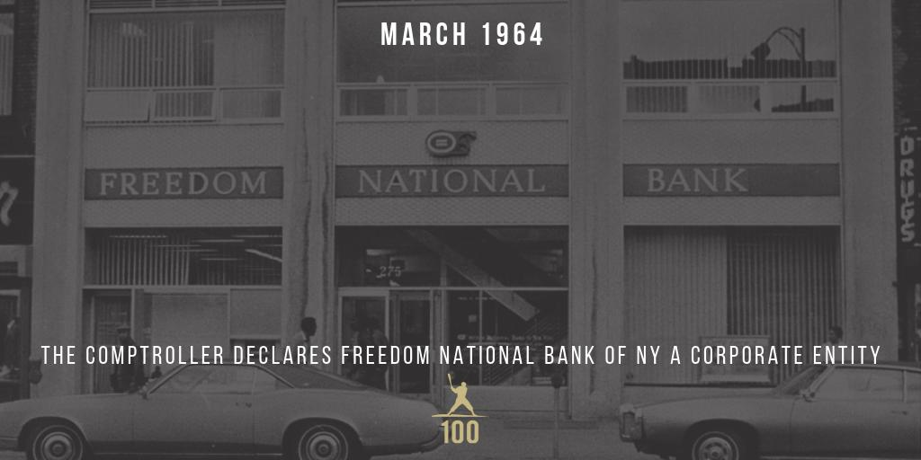March 1964 | Jackie Robinson's Freedom National Bank reaches its capitalization goal of $1.5 million and the comptroller officially declares Freedom National Bank of NY a corporate entity. #JackieRobinson #JR100