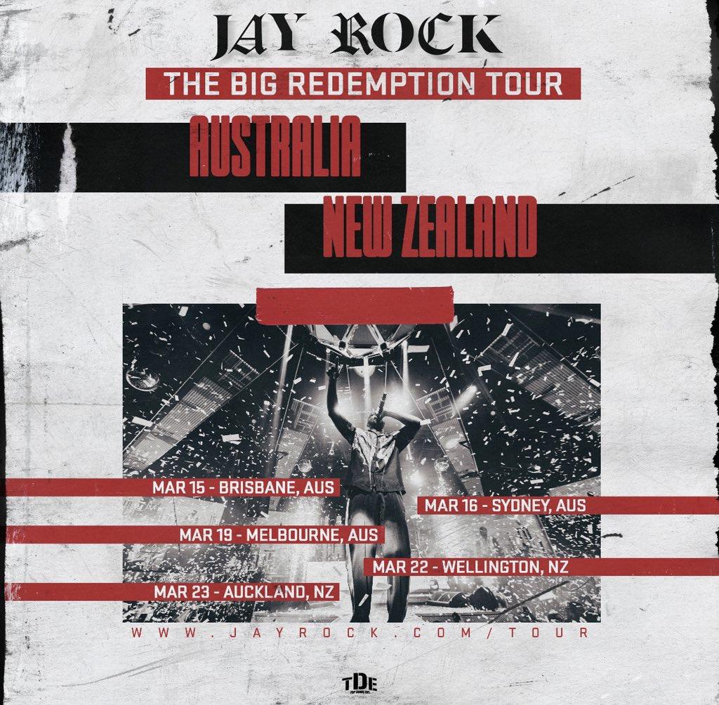 Austrailia & New Zealand🗣 Hit @BIGBTDE On IG! He's Giving Away A Few Tickets To @jayrock's Big Redemption Tour: Down Under #TDE