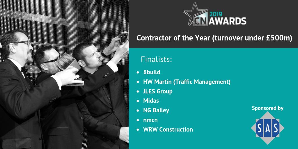 Congrats to the companies on the shortlist for Contractor of the Year (turnover under £500m), category sponsored by @Senior_Systems! Check out the full shortlist here http://bit.ly/2019CNshortlist