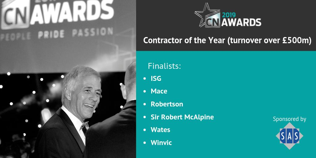 Here is the shortlist for Contractor of the Year (turnover over £500m), also sponsored by @Senior_Systems. Congratulations to all these companies! See the full shortlist here http://bit.ly/2019CNshortlist