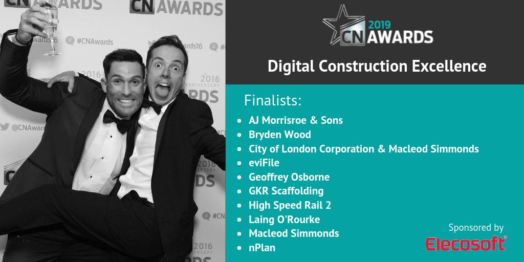 Amazing job to the companies shortlisted for Digital Construction Excellence (sponsored by @Elecosoftplc) at the 2019 #CNAwards! Check out the full shortlist here http://bit.ly/2019CNshortlist