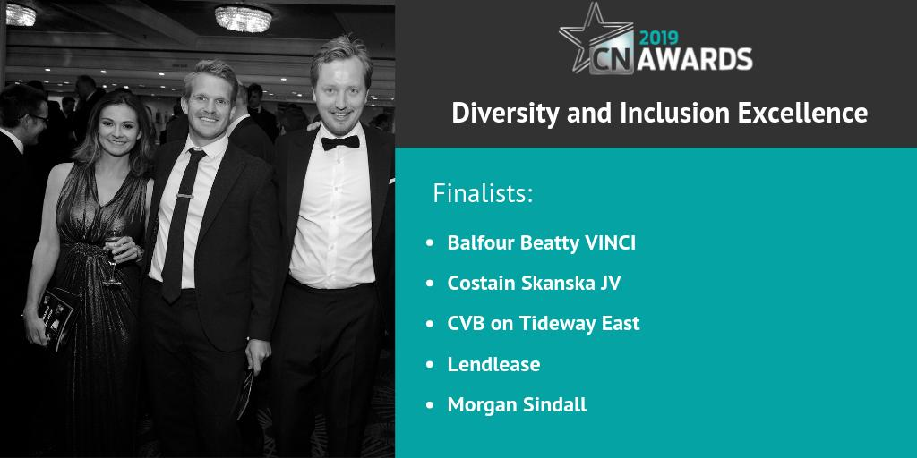 Congratulations to the companies shortlisted for the Diversity and Inclusion Excellence award at the 2019 #CNAwards: @balfourbeatty/@VINCI, @CostainGroup, CVB on @TidewayLondon, @Lendleaseuk and @morgansindall! Check out the full shortlist here http://bit.ly/2019CNshortlist