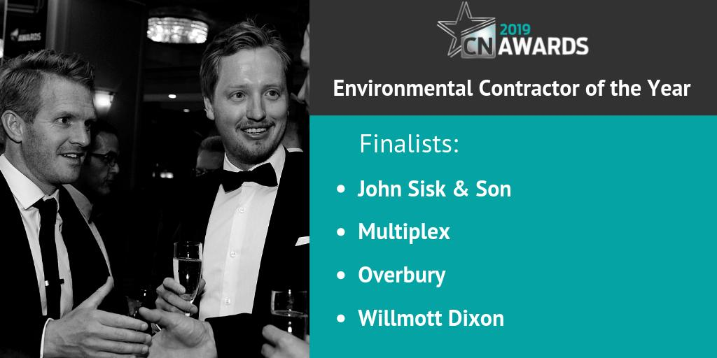Well done to the companies shortlisted for the Environmental Contractor of the Year category at the 2019 #CNAwards: John Sisk & Son, Multiplex, Overbury and Willmott Dixon! You can see the full shortlist here http://bit.ly/2019CNshortlist
