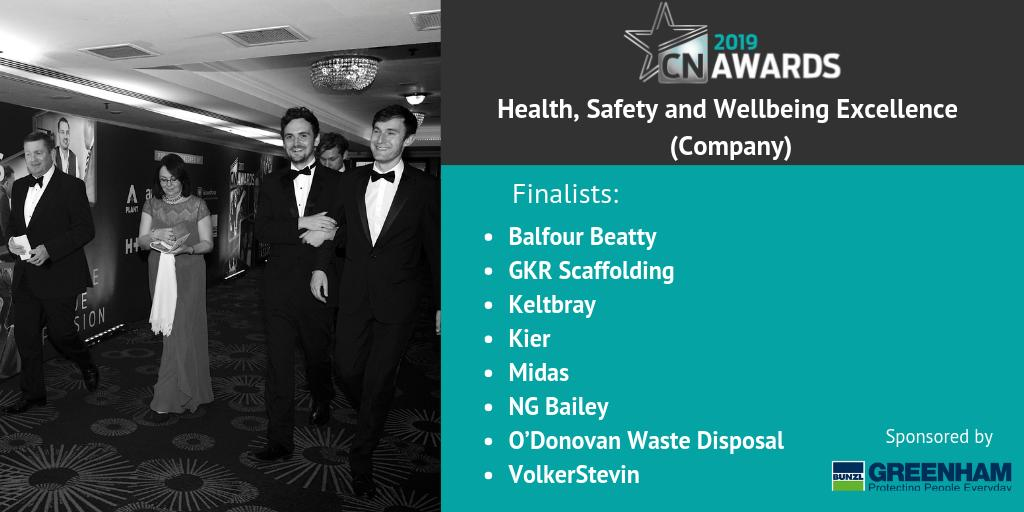Up next is the shortlist for the Health, Safety and Wellbeing Excellence (Company) Award (sponsored by @GreenhamBunzl)! Congratulations to the shortlist, we'll see you at the 2019 #CNAwards! See the full shortlist here http://bit.ly/2019CNshortlist