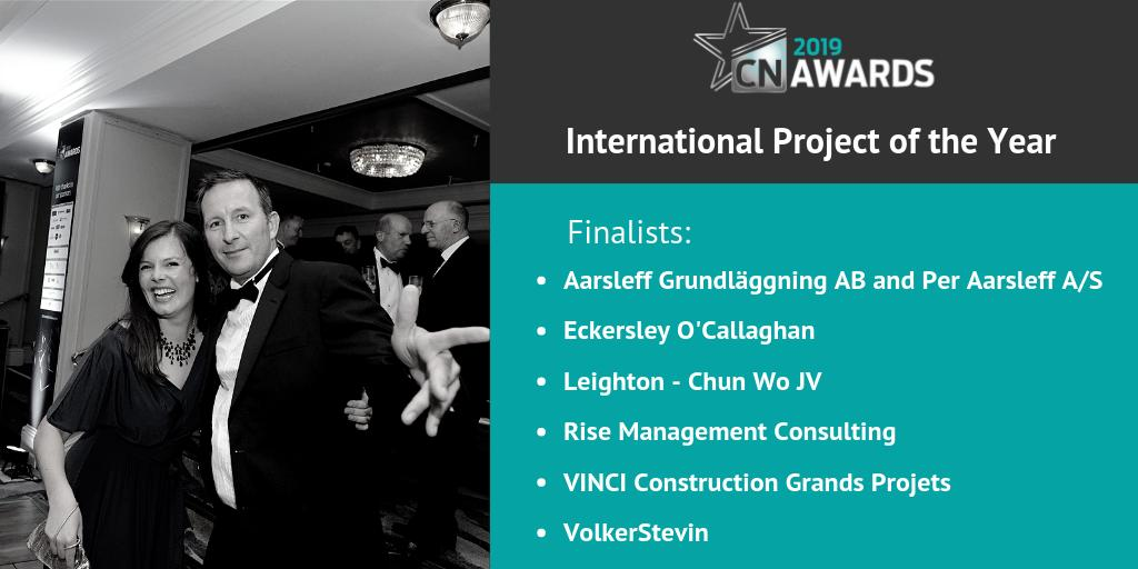 Here is the shortlist for International Project of the Year at the 2019 #CNAwards. Congrats to the following companies: @AarsleffUK, @EOCengineers, Leighton - Chun Wo JV, @RISEGroupLtd, @VINCIConstruc and VolkerStevin! See the full shortlist here http://bit.ly/2019CNshortlist