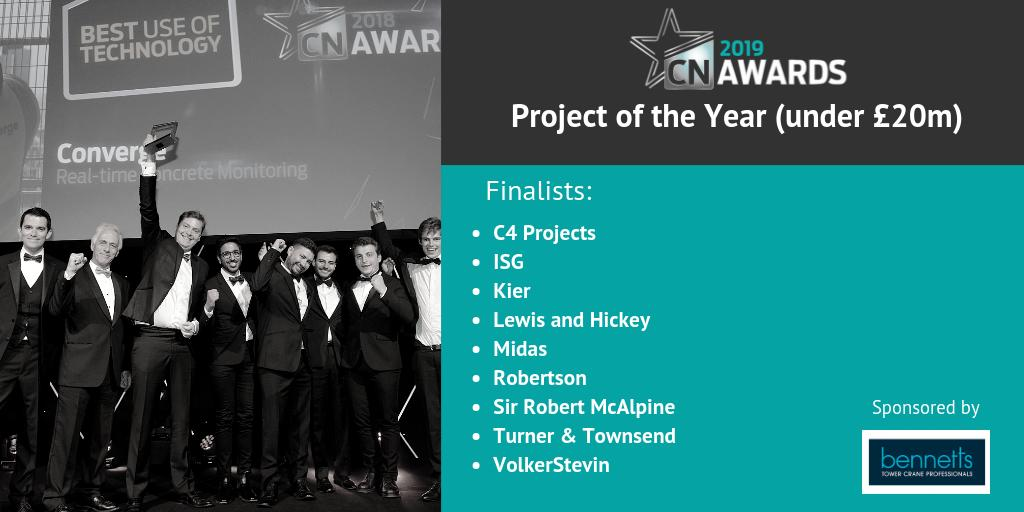 Well done to the finalists in the Project of the Year (under £20m) category sponsored by @Bennetts_Cranes! See the full shortlist for the 2019 #CNAwards here http://bit.ly/2019CNshortlist