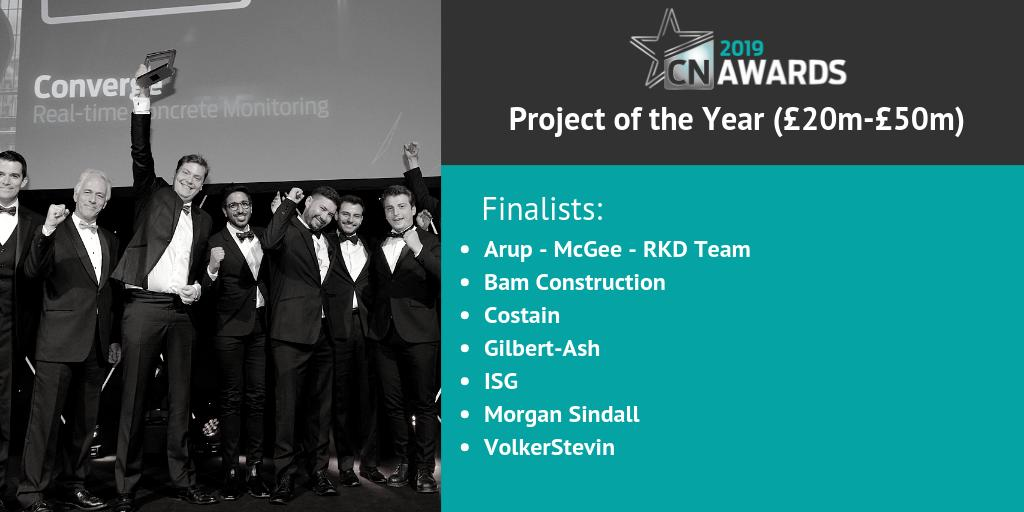Next up we have the finalists in the Project of the Year (£20m - £50m) category, congratulations! See the full shortlist for the 2019 #CNAwards here http://bit.ly/2019CNshortlist