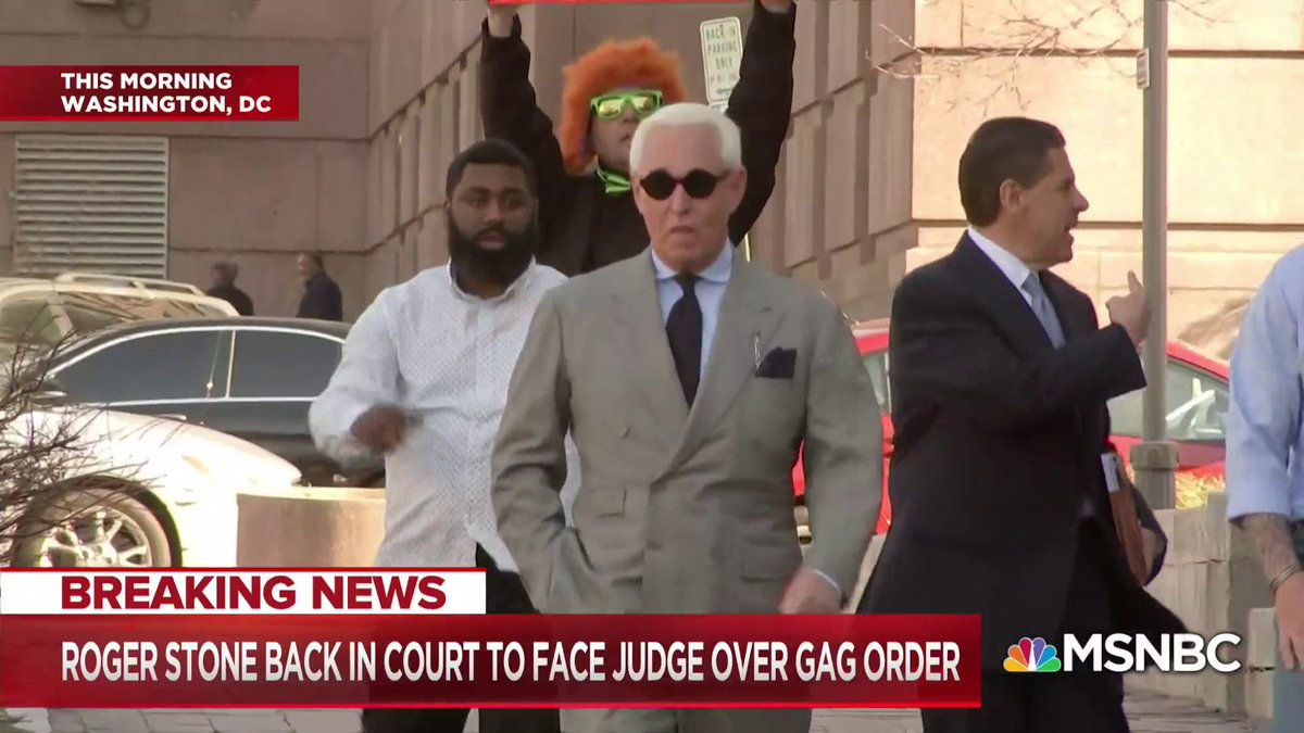 Roger Stone is back in federal court today for a status hearing and review of his gag order.  @annaschecter has the latest.