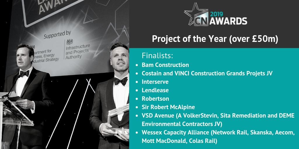 Congratulations to the companies shortlisted for Project of the Year (over £50m) at the 2019 #CNAwards! We can't wait to see you there. For the full shortlist, check out http://bit.ly/2019CNshortlist