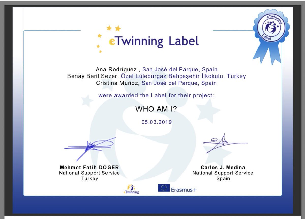 We are happy to announce that our E-Twinning Project called 'Who am I?'  which is cooperated with Spain by our 1st and 2nd grades is accepted! 🎈@BK_Luleburgaz @MrsGecays @DuyguPeran @kivancdizman @Sedanurylmzz @bberilsezer