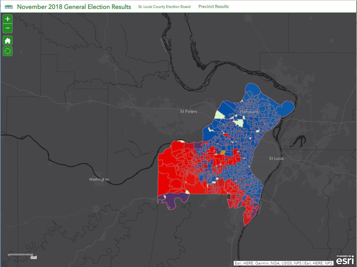 ATTN Stl Co Voters &amp; Election Geeks:  we have updated our election results app ( http:// arcg.is/0LTWKz  &nbsp;  ) w/ races from #midterms2018! This is a great tool to visualize how key races played out across the County &amp; learn how your community voted #yourvoteyourvoice<br>http://pic.twitter.com/TW117FWlOY