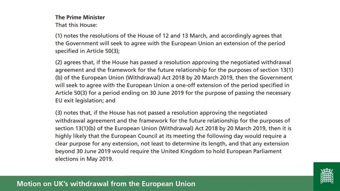 Text of Prime Minister's motion on UK's withdrawal from the European Union