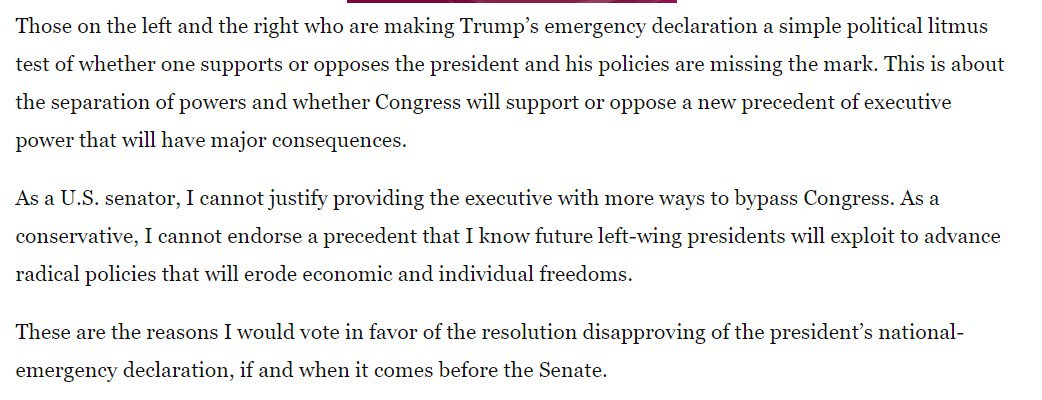 Republican Sen. Thom Tillis was not just against the emergency declaration until he flip-flopped a moment ago -- he wrote a Washington Post op-ed about why he was opposed.  https://www. washingtonpost.com/opinions/2019/ 02/25/i-support-trumps-vision-border-security-i-would-vote-against-emergency/?utm_term=.5d4923130e96 &nbsp; … <br>http://pic.twitter.com/6ZikFsa1Pl