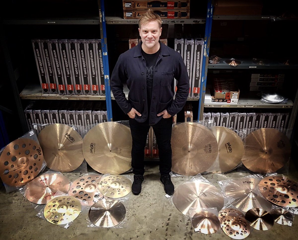 Wonderful day yesterday with my friends at @PaisteNation picking my set up for the forthcoming Steve Hackett Tour. A dark mixture of 602 modern essentials, 2002 big beat crashes, rides and hats and the bright punch of 2002/PSTx effects cymbals, always a huge privilege #paiste