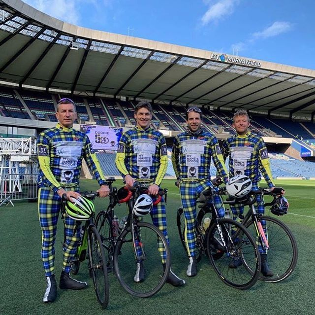 All set and ready to depart Murrayfield for the first stage of the #Doddie500