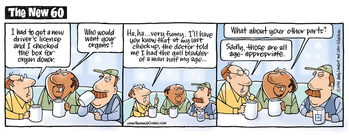 Hello everyone, and a Happy #Nationalkidneyday. Celebrating the kidney makes us think of being organ donors.  Here's how the guys at http://thenew60comic.com  handle that decision. #OrganDonation #comicstrip