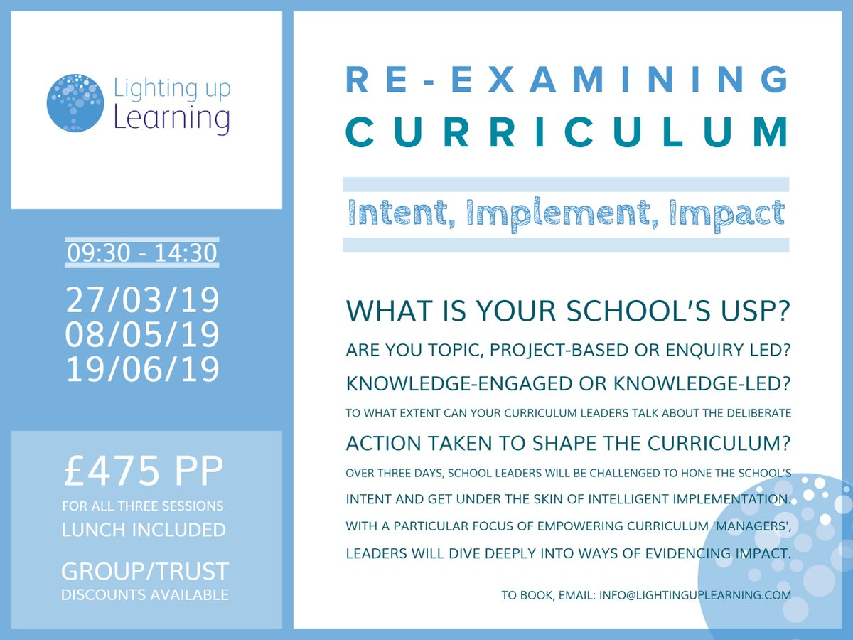 Next Wednesday Is The Session 1 Of Our 3 Part Course Rexamining Curriculum Join Us In Bristol And Gain Real Practical Insight On Guiding Your School
