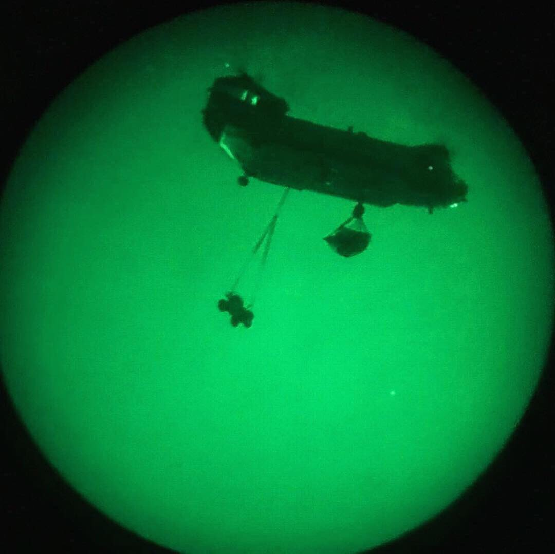 Conducting nighttime underslung training last night with a chinook from @27_Sqn. Inter-service interoperability at Rock Barracks.