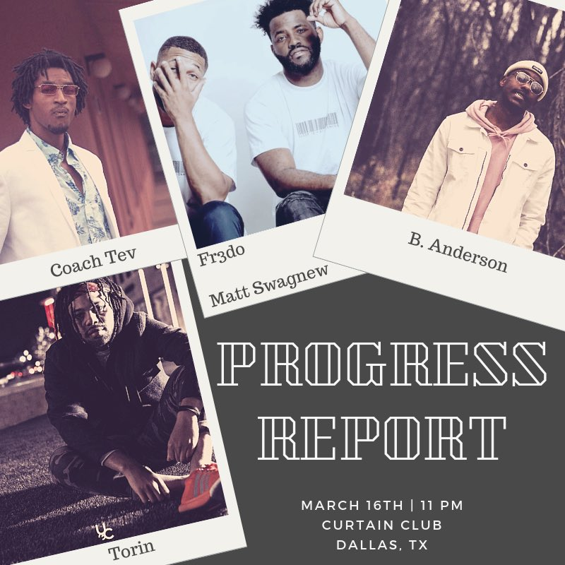 Doesn't the aesthetic of the flyer just make you wanna pull up? 🤷🏽‍♂️  #progressreport   Curtain Club in Deep Ellum   Saturday 3/16  Meet and Greet starts at 10:00 Come fw us!!!  @__banderson__ @MdotSWAGNEW @coachtev