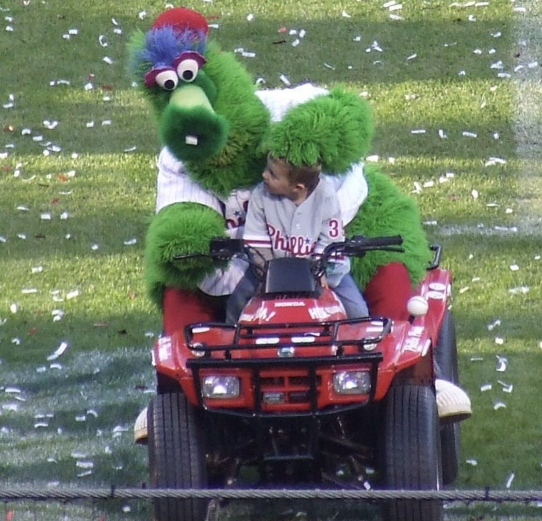#throwbackthursday in 2008 when the @philliephanatic drove my now 13 yr old around #citizensbankpark during the #worldseries ceremonies! He's been 4 wheelin ever since the Phanatic taught him well! @phillies #tbt #tbt❤️ #tbthursday #phillies #philly #brettmyersmusic